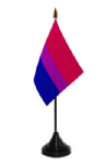 Bisexual Pride Desk / Table Flag with plastic stand and base